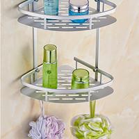 Rak Sudut Dinding Kamar Mandi Aluminium Tempat Shampoo Sabun Odol