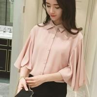 Jual Gita peach RO blouse wanita twiscont salem Murah