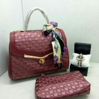 Tas wanita import Furla merah maroon+dompet+tali selempang+jam tangan