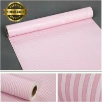 Jual WALLPAPER dinding 10 meter,pink garis Murah