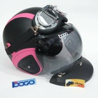 Helm Bogo Fullset Chrome Hitam Garis Pink