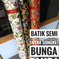 Kain batik halus semi sutera sutra halus songket bunga zahra