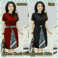 Jual Dress Midi/Mini/Gaun Twiscone Combi Batik Cantik Modern Etnik Simple Murah