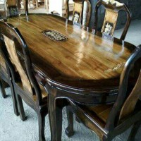 satu set meja makan + 6 kursi dari kayu jati keren unik (madiun)