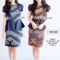 Jual Midi Dress Batik Modern Etnik Peplum Body Coklat Navy S M L XL Import Murah