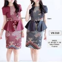 Jual Midi Dress Batik Modern Etnik Peplum Body Maroon Hitam S M L XL Import Murah