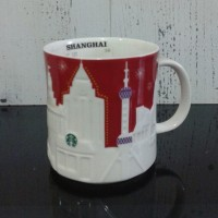 Starbucks Holiday Red Relief Mug - Shanghai - DISCONTINUED / RARE