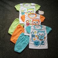 Jual Grosir Setelan Anak Setelan Baju Pendek Bayi Motif OWL Murah Berkuali Murah