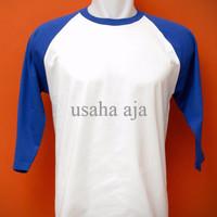 Kaos Polos Raglan Cotton Combed 20's Putih-Biru Benhur XL