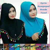 Jual Syria Rampopol Renda Tasel Rainbow jilbab Murah