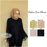 Jual NEW ARRIVAL atasan blouse wanita peplum lace blouse murah Murah