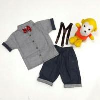Jual Jual Baju Setelan Anak Laki-Laki Kemeja Salur Celana Denim Suspender # Murah