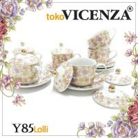 Vicenza Tea Set - Cangkir Lepek dengan Tutup Y85 Motif Lolli