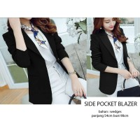 Jual A8564 Side Pocket Blazer Black and White Murah