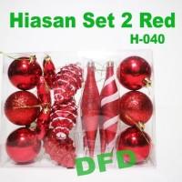 Jual NATAL/ Aksesoris Pohon Natal / Hiasan Set 2 Red /TERLARIS Murah