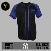 jersey baseball / baju baseball / baju hip hop NY hitam biru