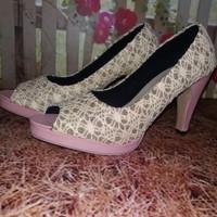 Jual Spesial Spesial Sepatu Sandal High Heels Wanita Pantofel Brukat SDH28 Murah