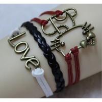 Jual Gelang Vintage Love Cat Leather Bracelet Bangle Women - Q7 Murah