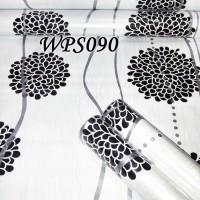 Jual WALLPAPER STICKER 45CMX5M- WPS090-WHITE N BLACK CIRCLE FLOWER Murah