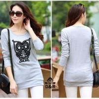 Jual Baju Korea Grey Owl DR Spandex Abu Muda Murah