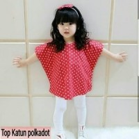 Jual Baju Setelan Anak Perempuan Polka Claudia Batwing Kids Set 2in1 Murah