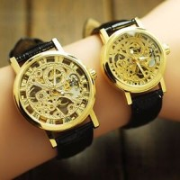 Jam Classic Wrist Hollow Skeleton Mechanical Couple Watch Leather Stra