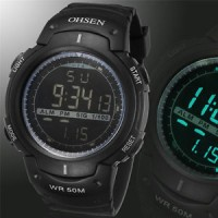 Jam OHSEN Fashion Waterproof Mens LED Digital Sports Wrist Watch Silic