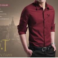 Jual TERLARIS miller maroon OT pakaian pria kemeja slim fit warna maroon Murah