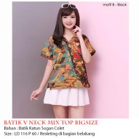Jual Atasan BATIK V NECK MIX TOP BIGSIZE Murah