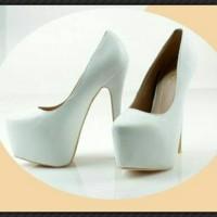 Jual High Heels Import White Elegant Pump Shoes 100% Real pic MC063 Murah