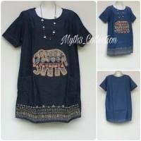 Jual Big Size LD114 Dress Denim Jeans Etnic 576 Murah