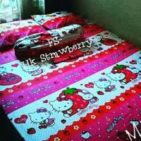 Jual sprei motif hello Kitty strawberry Murah