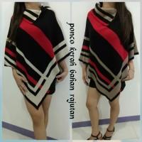 Jual outer sweater wanita rajutan import ponco kerah fashion wanita muslim Murah