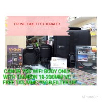 Canon 70D Body With Lensa Tamron 18-200MM VC