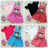 Jual Overall Polkadot Belt + Kaos Off Shoulder Baby Tsum Tsum baju anak Murah