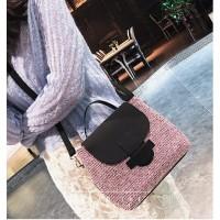 tas slempang big postman bags pink pastel cantik wanita modern butik