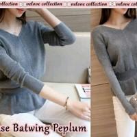 Jual DeltaRN Blouse batwing peplum grey Fashion Wanita Baju atasan Lengan Murah