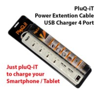 PluQ-it colokan listrik steker stop kontak 4 port + 4 USB Charger