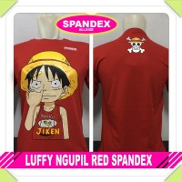 HOT PROMO KAOS BAJU DISTRO ANIME LUFFY NGUPIL RED SPANDEX