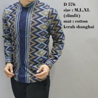 Baju Batik Cowok Model Slimfit Lengan Panjang Keren Best Seller