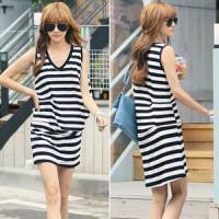 Jual Casual Bohemian Vneck Stripes mini Dress PREM QLTY Import Murah