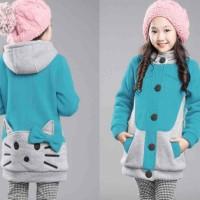 Jual Paling Laris Kid Hello Kitty Turkis combi Abu sweater anak babyterry Murah