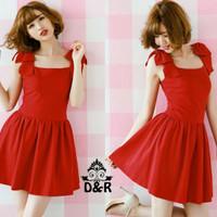 Jual [dres redribbon DR] Dress wanita spandex merah Murah