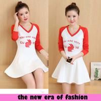 Jual [d1068 dress Rabbit red xl CR] dress wanita spandex merah Murah