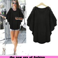 Jual [d1022 blus navila xl CR] blouse wanita spandex hitam Murah