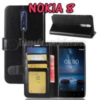 Flipcase Slim Dompet Kulit Book Leather Flip Case Cover Casing Nokia 8