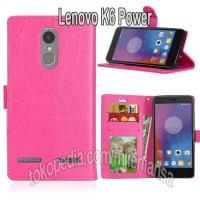 Flipcase Kulit Book Leather Flip Case Cover Casing Lenovo K6 Power