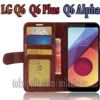 Flipcase Kulit Book Leather Flip Case Cover Casing LG Q6 Plus Q6 Alpha