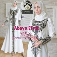 Jual gamis syari white. baju muslim putih. abaya etnic Murah