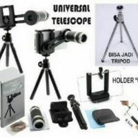 Lensa Pembesar Kamera HP 8X Tele zoom paket Tripod dan Holder U Medium